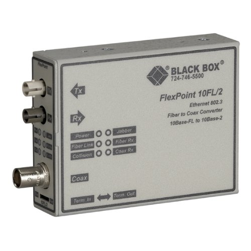 Box Fiber Black (FlexPoint 10BASE-FL to BNC Media Converter, 10-Mbps Fiber to ThinNet, Multimode, 850-nm, 2 km, ST)