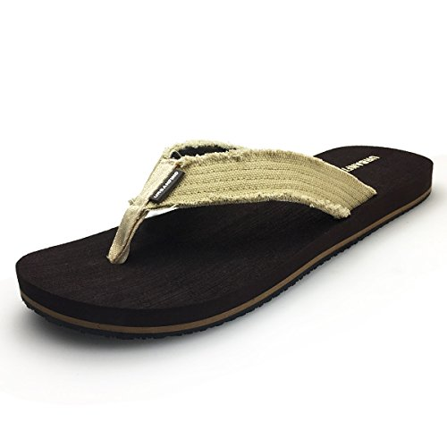 URBANFIND Men's Flip Flops Canvas Thong Sandals Flat Slide On Slippers Brown, 10 D(M) (Canvas Thongs)