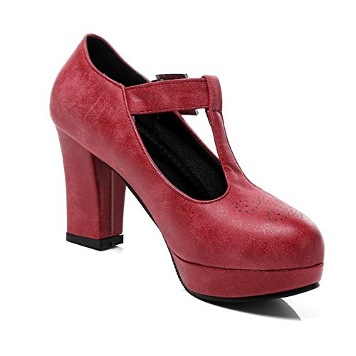 Tacco Blocco Donna T TAOFFEN A Rosso Scarpe Piattaforma con Strap OFSwBq