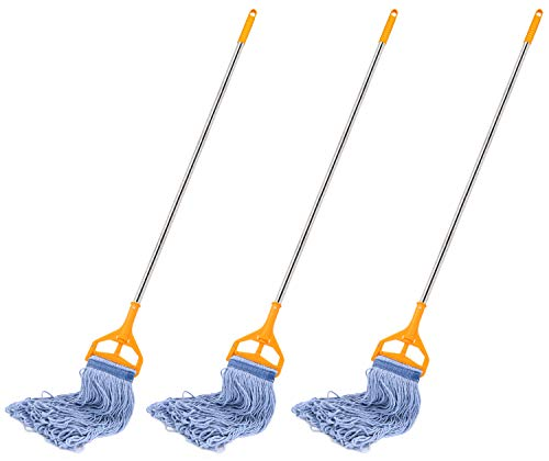 affordable 3 Pack Best Value 56-inch Quick Change Stainless Steel Mop Handles with 3 Loop-End Mop Heads for Home, Commercial and Industrial Use (56 inch)