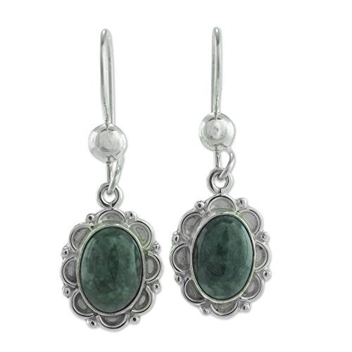 NOVICA Jade .925 Sterling Silver Dangle Earrings 'Dark Green Forest Princess'