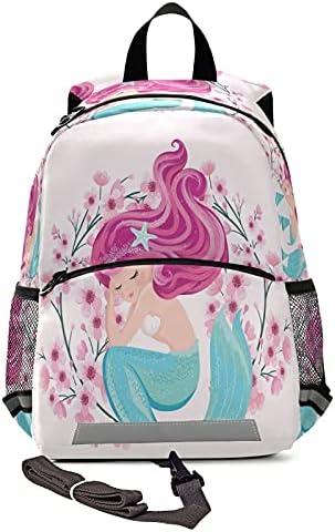 Kid's Toddler Backpack Cute Mermaid Flowers Schoolbag Safety Leash for Boys Girls,Pink Summer Kindergarten Children Bag Preschool Nursery Travel Bag Chest Clip Reflective Stripe