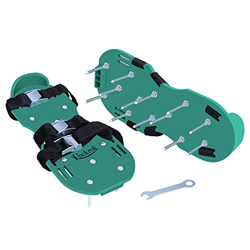 Rockrok Lawn Aerator Shoes, Heavy Duty 2'' Spike Sandals for Aerating Your Garden Yard Soil - 3 Adjustable Straps and Metal Buckles - 1 Size Fits All by Rockrok