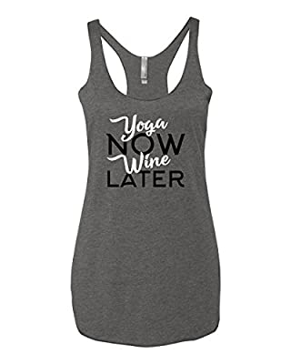 Panoware Women's Funny Workout Racerback Tank Top | Yoga Now Wine Later