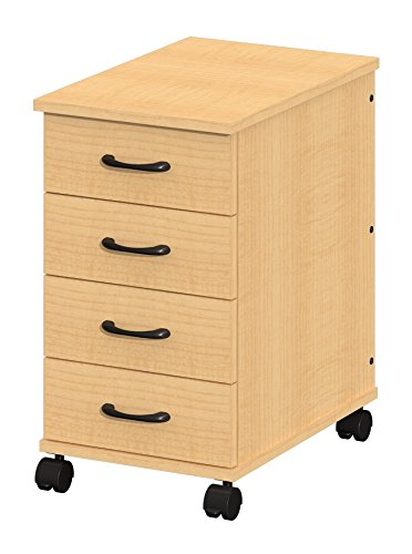 Fleetwood 28.1004.385.000-lgghtoOak Solutions Mobile File Caddy with 4 Non-Locking Box Drawers and 2 Locking/Non-Locking Casters in Light Oak Laminate