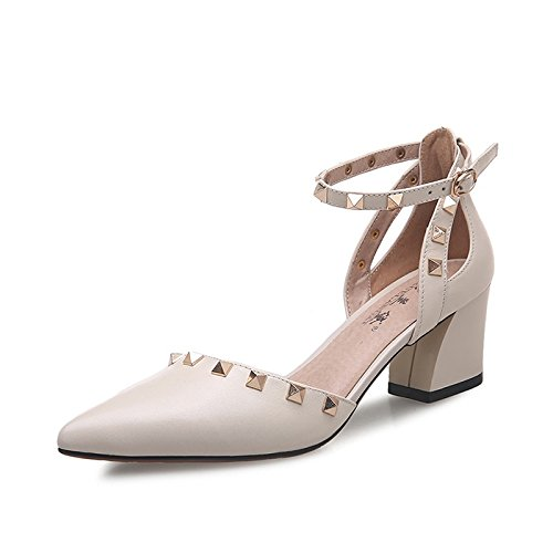 Heels Thick heels With Buckle Shoes creamy Summer Female High Leather Rivet With Tip New white High Female Jqdyl Sandals PwRxq58z