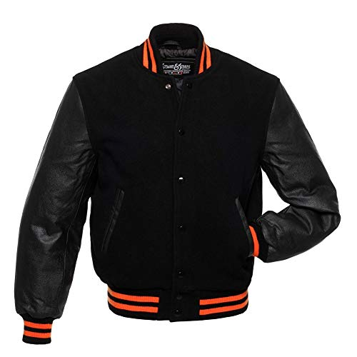 Stewart & Strauss Varsity Letterman Jacket - Black Wool & Black Leather - Medium