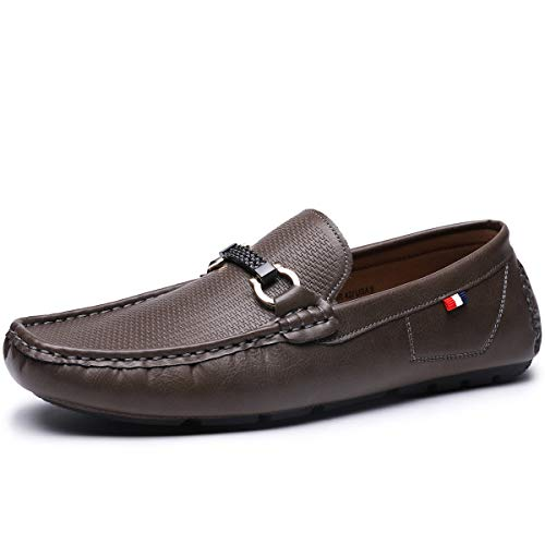 Men's Casual Loafer Slip-on Moccasin Flat Boat Driving Shoes with Metal Buckle