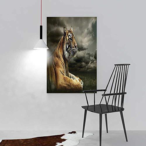 Price comparison product image L-QN Decorative Painting Frameless Wildlife Tiger Leopard Safari Cat Black Gray Brown Wall Decor W20 x H40