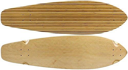 BAMBOO LONGBOARD SKATEBOARD Deck KICKTAIL Inlay Stripes 9.75 in x 36.5 (Bamboo Longboard Deck)