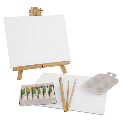 U.S. Art Supply 14-Piece Acrylic Artist Painting Set with Mini Table Easel, Canvas Panel, Brushes & Palette (Easel Painting Canvas)