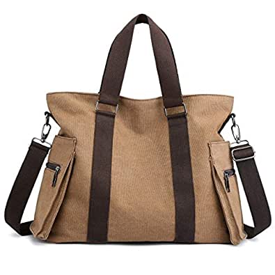 DOURR Hobo Handbags Canvas Crossbody Bag for Women, Multi-pocket Tote Purse Bags brown Size: Large