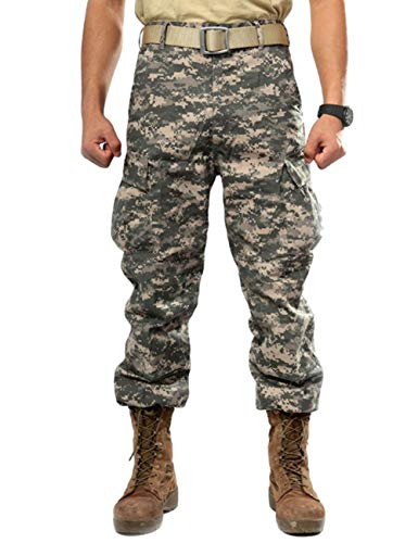 - ZLSLZ Men's Military Tactical Casual Camouflage Multi-Pocket BDU Cargo Pants Trousers (XS/W28, ACU)