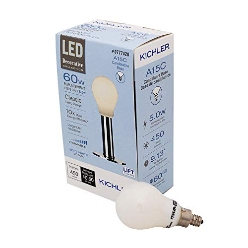 Kichler Frosted Globe 60W Equivalent 5w Dimmable a15 Vintage LED Decorative Light Bulb Vintage Antique Style Light Bulb