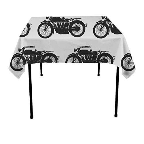 JACINTAN Tablecloth Square Polyester Table Cover - Wedding Restaurant Party Banquet Decoration, Cool Crazy Antique Motorcycle Pattern, 36 x 36 Inch