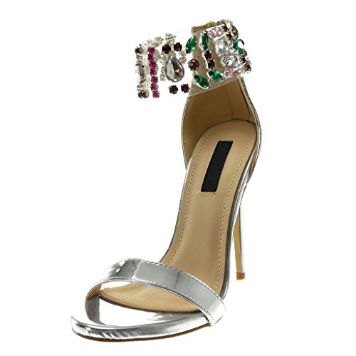 Zapatillas 12 Escarpín Altas Moda De Angkorly Joyas Mujer Stiletto Cm Tacón Alto Transparente Sandalias Plata Tanga Aguja 4w1d6xn6qF