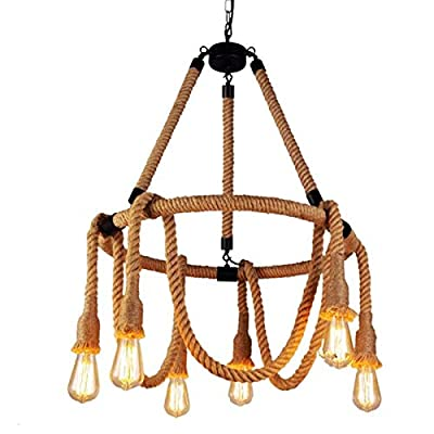 Ladiqi 6 Lights Hemp Rope Hanging Ceiling Light Vintage Pendant Lights Chandelier Light Fixture Rustic Art Deco for Living Room Dining Room Kitchen Restaurant