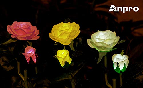 Anpro Solar Garden Rose Lights, 3 Pack Waterproof Solar Lights with 6 Roses for Garden, Courtyard, Backyard Decoration Perfect Valentine's Day Gift (White, Pink and Yellow)