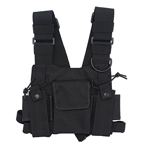GoodQbuy Universal Radio Harness Chest Rig Bag Pocket Pack Holster Vest for Two Way Radio (Rescue Essentials) (Black)