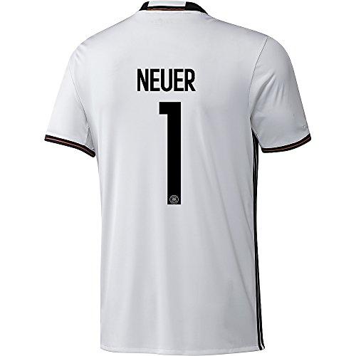 Adidas DFB Deutschland Fussball Trikot Home Kinder Euro EM 2016 Manuel Neuer 1 weiß schwarz Größe 152