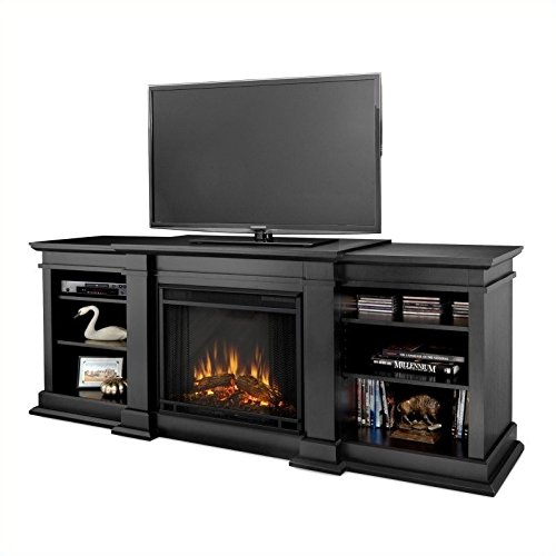 Cheap Real Flame Fresno G1200-X-B Entertainment Unit in Black with Electric Fireplace
