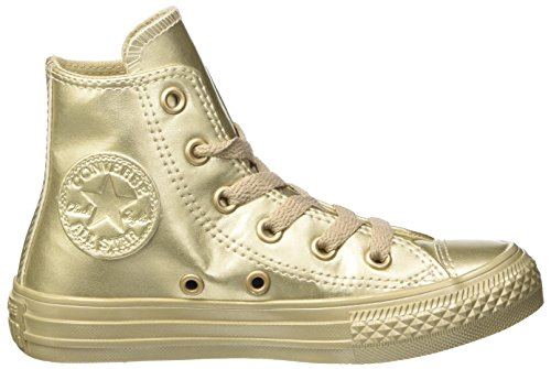 Converse Unisex-Kinder CTAS Hi Metallic Synth Leather Hohe Sneaker Oro (Gold/Gold/Gold)