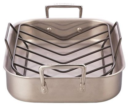 Le Creuset  Tri-Ply 14.5 by 10.75-Inch Stainless Steel Roasting Pan Set, Small