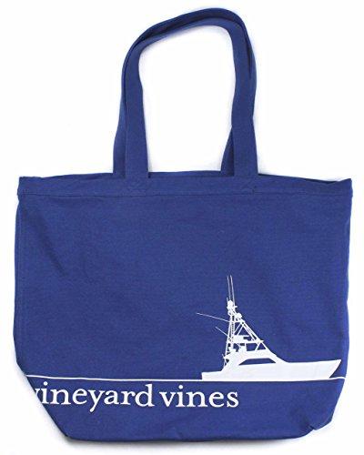 Vineyard Vines Sportfisher Line Graphic Moonshine Blue Tote Carryall Bag (Vineyard Vines Canvas)