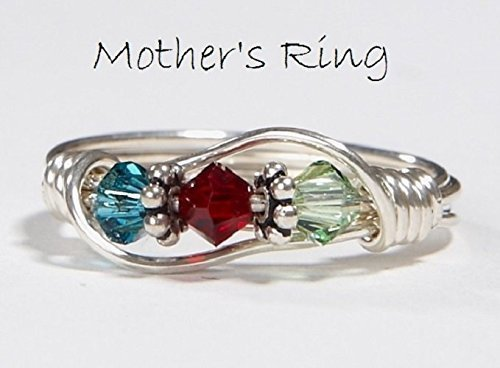 3 stone Mother's Birthstone Ring: Personalized Sterling Silver Mom's Family Ring.Three Swarovski multi-stone Crystals