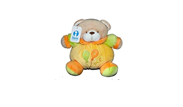 Doudou peluche ours jaune vert orange ITEM International Grelot 25 cm: Amazon.es: Bebé