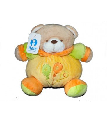 Doudou peluche ours jaune vert orange ITEM International Grelot 25 cm
