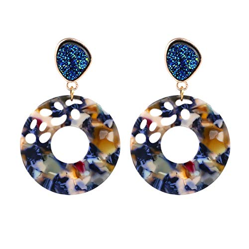 Women's Hollow Round Acrylic Earrings, Fashion Semi Precious Stones Resin Post Dangle Hoop Earrings for Women Girls (Style A- Tortoise Shell) (Style A- Floral)