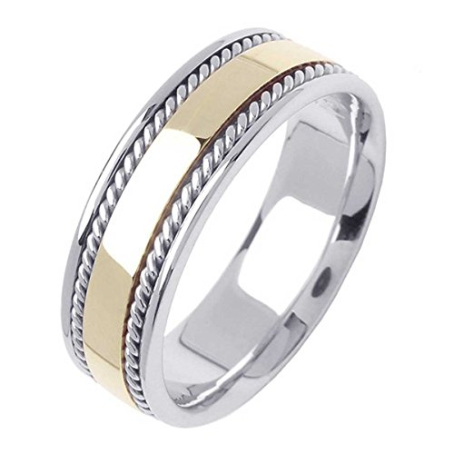 14K Two Tone (White and Yellow) Gold Traditional Rope Edge Men's Wedding Band (7mm) ()