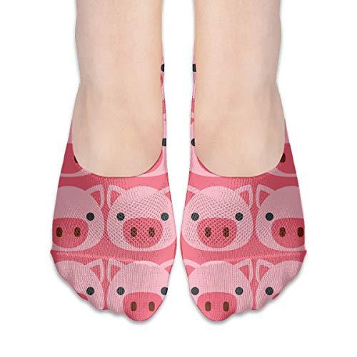 Pig Face Emoji Womens Non Slip Flat Boat Line No Show ()
