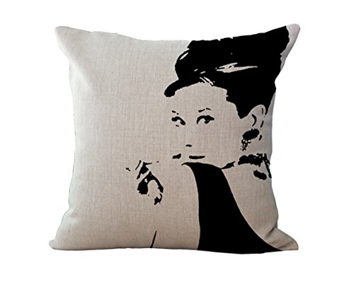 Rita Home Decor Sexy Marilyn Monroe Elegant Audrey Hepburn King of Rock Elvis Presley Pillow Cover 18x18 Inch Cushion Cover Hidden Zipper Cotton Linen Burlap Square Pillow Cover for Home Office Decor