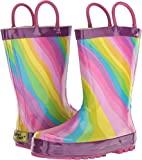 Western Chief Girls' Waterproof Printed Rain Boot, Rainbow, 9/10 Medium US Toddler