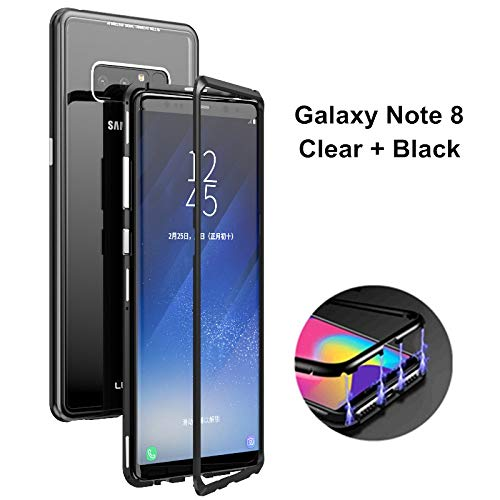 best service 63b3a 582d8 for Galaxy Note 8 Case, HikerClub Magnetic Adsorption Phone Case Built-in  Strong Magnet Metal Flip Frame + Clear Tempered Glass Back Ultra Slim Cover  ...
