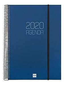 Finocam - Agenda 2020 1 día página Espiral Opaque Azul español