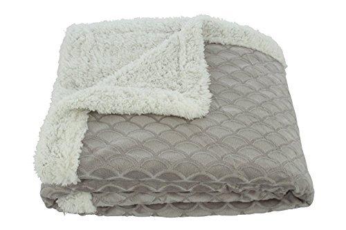 "Elegance Linen® Luxury Micro-Sherpa 50"" X 60"" Ultra Plush Waves Design Solid Throw/Blanket, Silver/Grey"