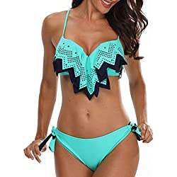 Holipick Women's Tie Side Bottom Push Up Padded Top Geometric Flounce Bikini Bathing Suit Blue S