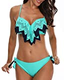 Holipick Women Two Piece Push Up Flounce Bikini Sets Tie Bottom Bathing Suit