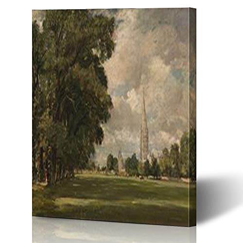 Armko Canvas Wall Art Prints Rocks Salisbury Cathedral Lower Marsh by John from Constable English Painting Oil On Lcgrart Canvas 16 x 16 Inches Wooden Framed Painting Home Decor Bedroom Office