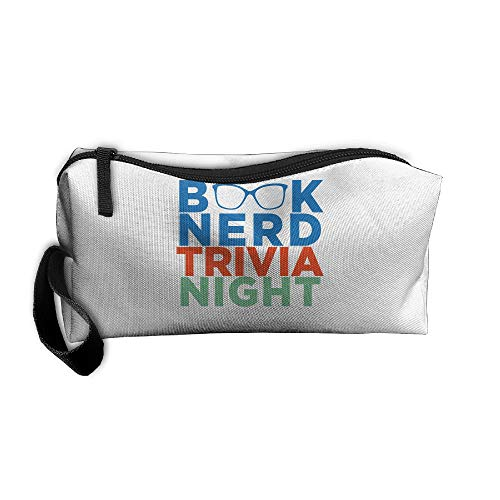 Cosmetic Bags With Zipper Makeup Bag Book Nerd Trivia Night Middle Wallet Hangbag Wristlet Holder