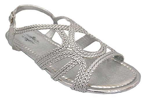 Charles Albert New-9706 Braided Loopy Metallic Peep Toe Sandal in Silver Size: 7