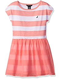 Girls' Printed Rugby Stripe Dress with Chiffon Overlay Skirt