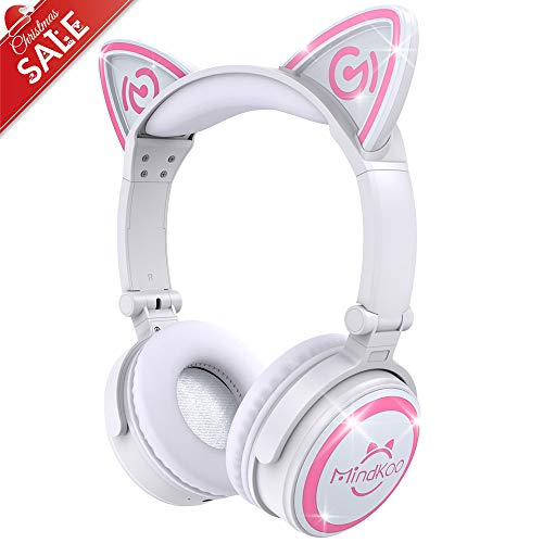 MindKoo Wireless Headphones Over Ear - Cat Ear Bluetooth Headphones with LED Light, Foldable Headset with Soft Earmuff for Cellphones/Tablets/PC/TV, White