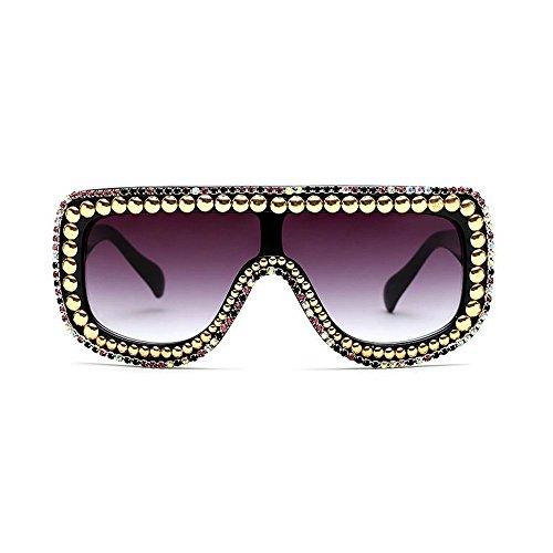MINCL/Large Oversized Square Geometric Shine Style Diamond Women Sunglasses (colorful rivet-black, colorful rivet-black)]()
