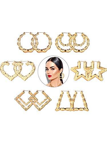 Gejoy 6 Pairs Bamboo Hoop Earrings Large Hoop Earrings Circle Earrings Set for Women Girls, 6 Styles