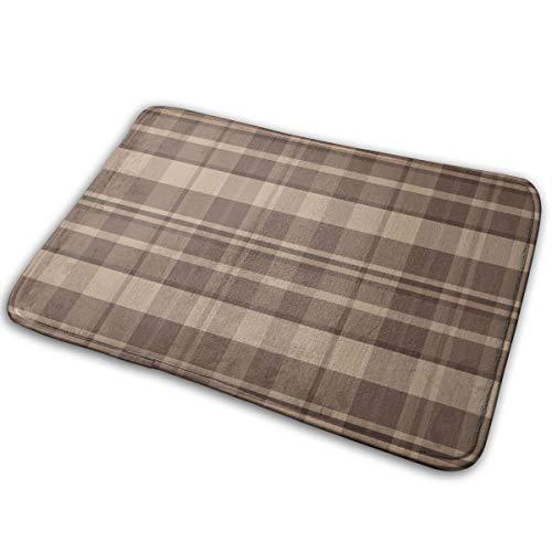 YANAIX 19-03Z Light Brown Tan Khaki Plaid Tartan_20128 Bath Mat Non Slip Absorbent Super Cozy Bathroom Rug Decor Rug 15.7