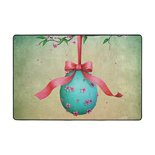 Huayuanhurug Door Mat Vintage Easter Egg Pink Bow Cute Doormat 24''x 16'', Indoor Outdoor Decor Carpet for Entrance Living Room Bedroom Office Kitchen Hallway